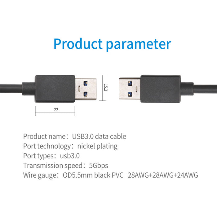 SatelliteSale USB 3.0 Cable Type A Male to Male for Data Transfer