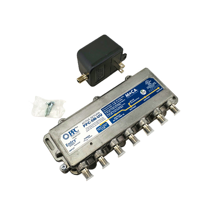MoCA Enabled 5-Port Active Return Coax Amplifier Splitter PPC-5M-U/U