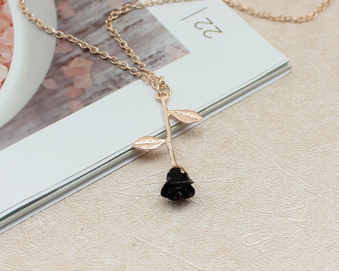 FREE Black Rose Pendant Necklace