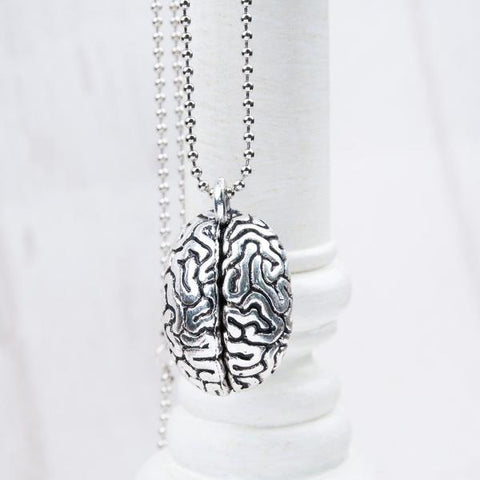 'Realistic Human Brain' Charm Necklace