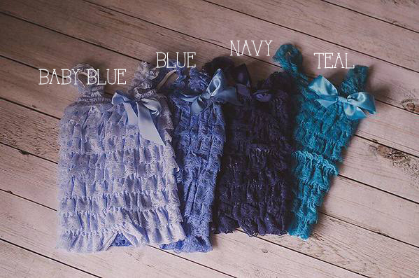 Blue, Navy, Baby blue, Teal Ruffle Rompers