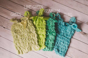 Turq, Lime Green, Yellow, Ruffle Rompers