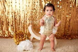 Ivory and Gold Sequin Romper