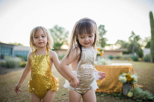 White and Gold Sequin Romper
