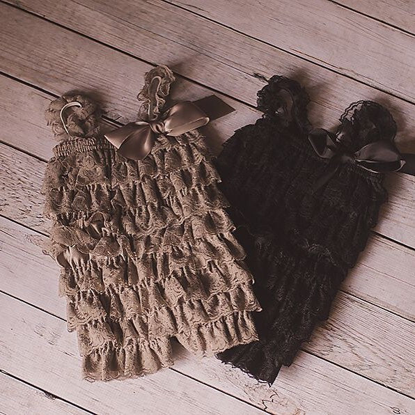 Grey, Brown, Orange Ruffled Romper