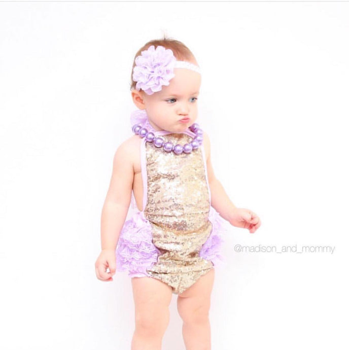 Lavender and Gold Romper