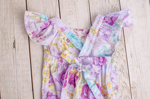 Lavender Romper with Buttons
