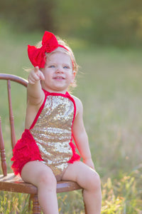 Red and Gold Sequined Romper