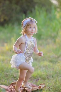 Ruffled Lace Sequined Romper