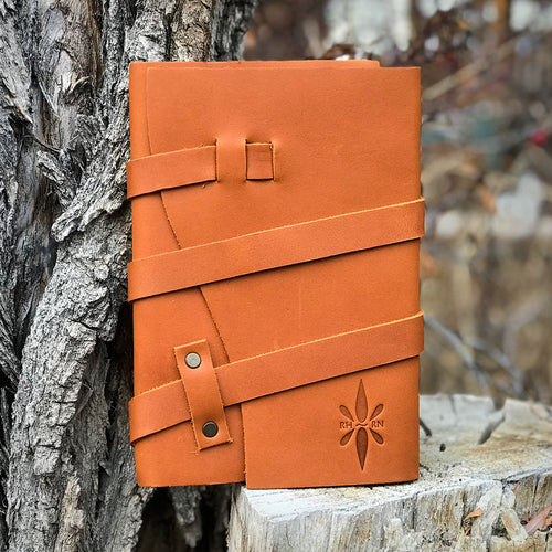 Right Here Right Now Triple Wrapped Leather Journal - Chestnut