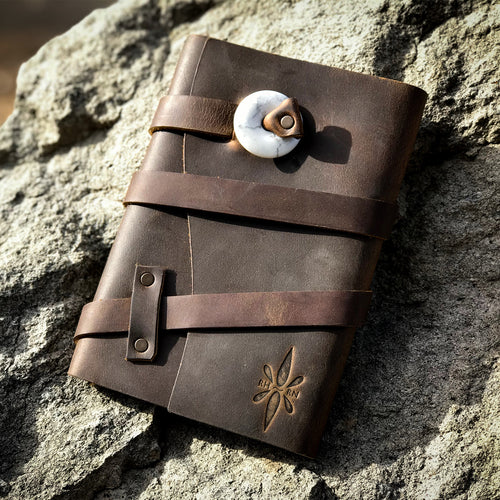 Right Here Right Now Triple Wrapped Leather Journal - Espresso