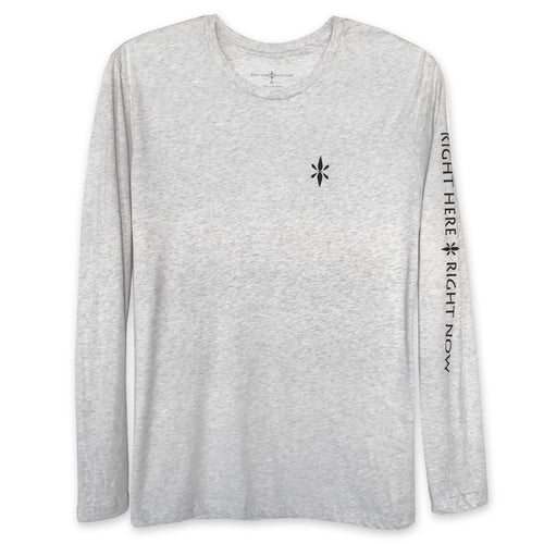 Right Here Right Now Unisex Long Sleeve T-Shirt - Heather White - Wear Your Reminder To Be Present Everywhere