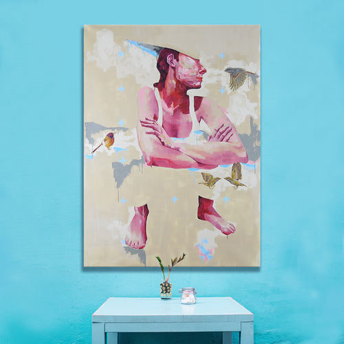 'Far Away' by Yassine Mourit. Contemporary figurative canvas painting in interior