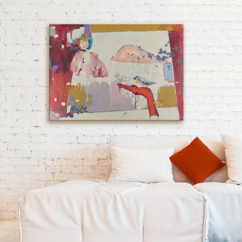 'In Thoughts Of You' by Yassine Mourit. Contemporary, figurative canvas painting in interior