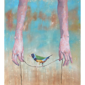 'Game' by Yassine Mourit. Contemporary painting. Blue- water background, bird, hands hold tread.