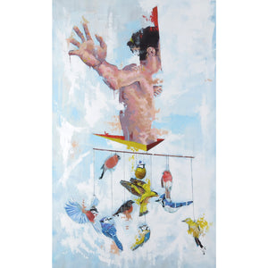 'Let's Go To Space' by Yassine Mourit. Contemporary, figurative canvas painting