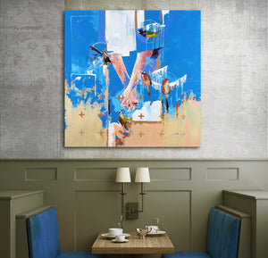 'You&Me' by Yassine Mourit. Contemporary, figurative canvas painting in interior