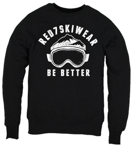 Black Ski sweatshirt - Red7SkiWear Eco Friendly Organic Cotton Clothing