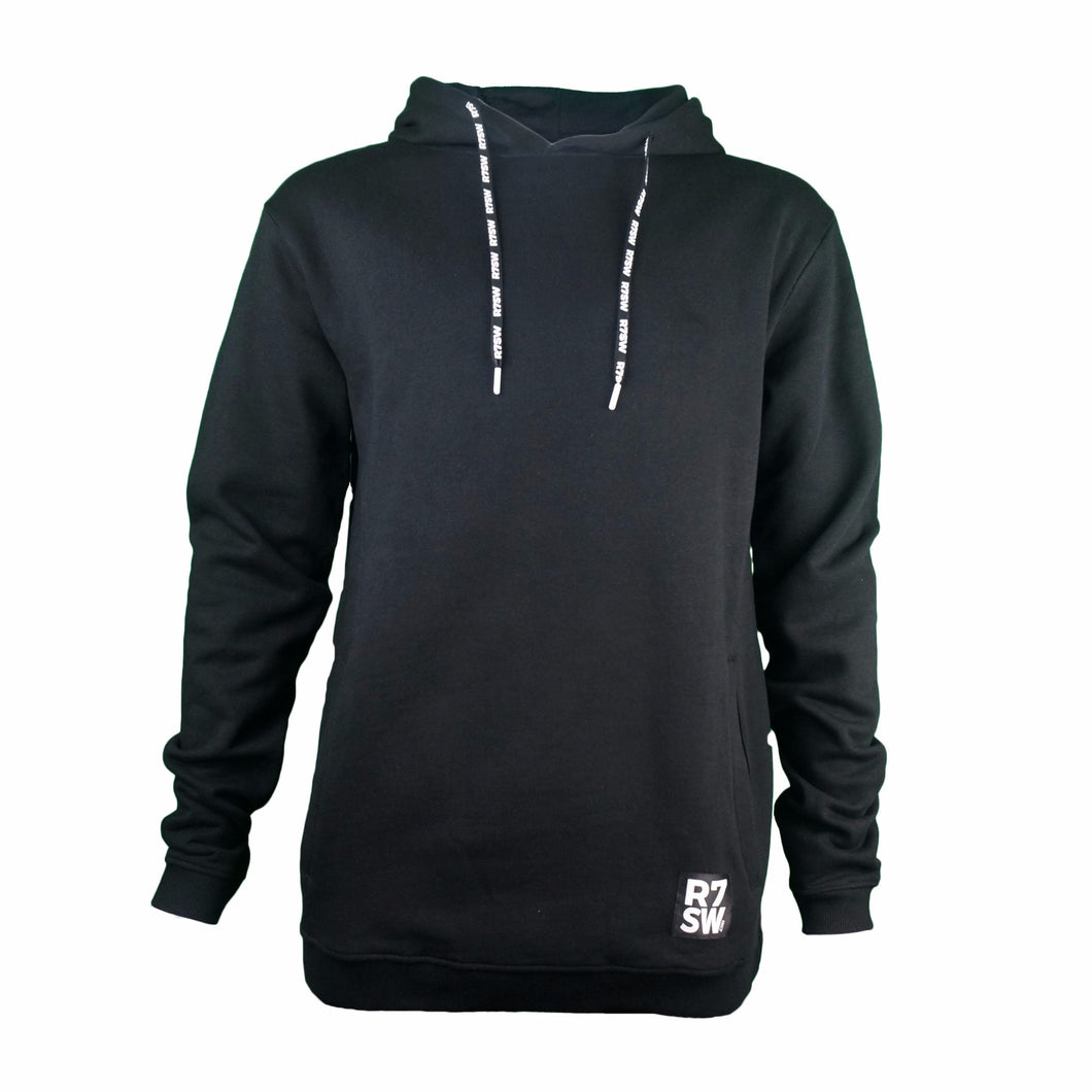 Black R7SW Organic Cotton Hoodie - Red7 SkiWear Sustainable Clothing