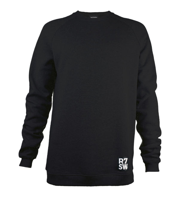BLACK COTTON SWEATSHIRT - R7SW ORGANIC SUSTAINABLE CLOTHING