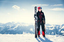black mens ski suit from red7 skiwear
