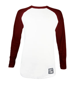 LONG SLEEVE WHITE BASEBALL TSHIRT WITH BURGUNDY SLEEVES - R7SW SUSTAINABLE CLOTHING