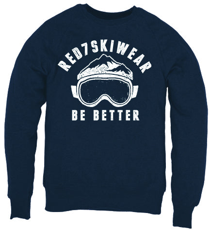 Navy Blue Sustainable Ski Sweatshirt - Organic Cotton Clothing