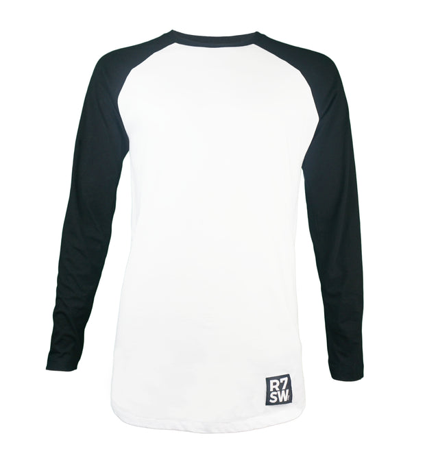BASEBALL STYLE LONG SLEEVE TSHIRT - R7SW SUSTAINABLE CLOTHING WHITE/BLACK