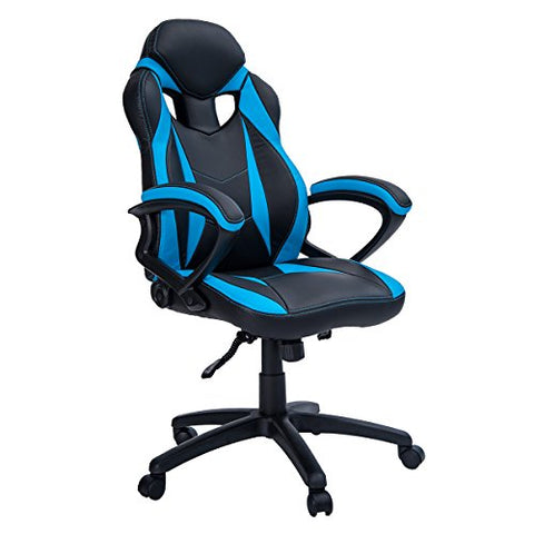 Merax Ergonomic Racing Style PU Leather Gaming Chair (Blue)