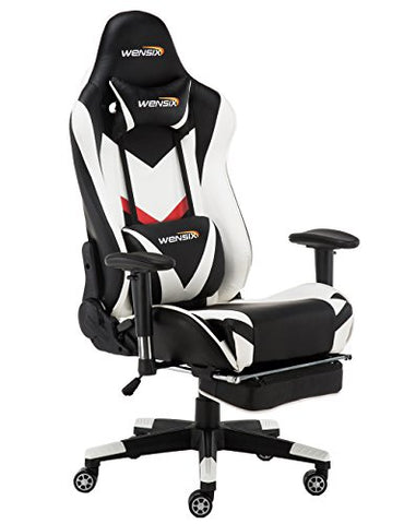 WENSIX Ergonomic High Back Gaming Chair  with Adjustable Footrest (White)