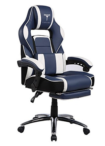 TOPSKY High Back Racing Style Gaming Chair (Navy&White)