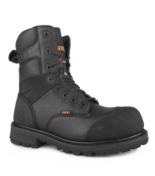 "Duncan II, Black | 8"" Waterproof Safety Work Boots 