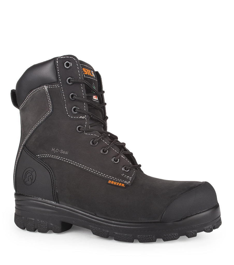 "Master, Black | Waterproof nubuck leather 8"" work boots"