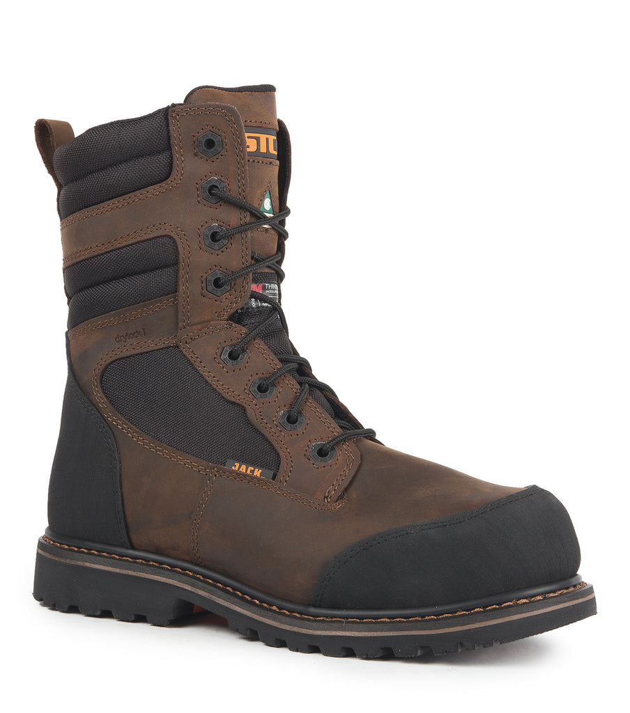 "Whiskhey Jack, Brown | 8"" Work Boots metal free"
