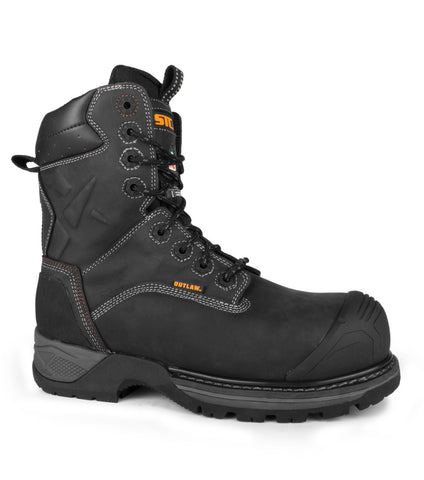 "Blitz, Black | 8"" Work boots with side zip closure 