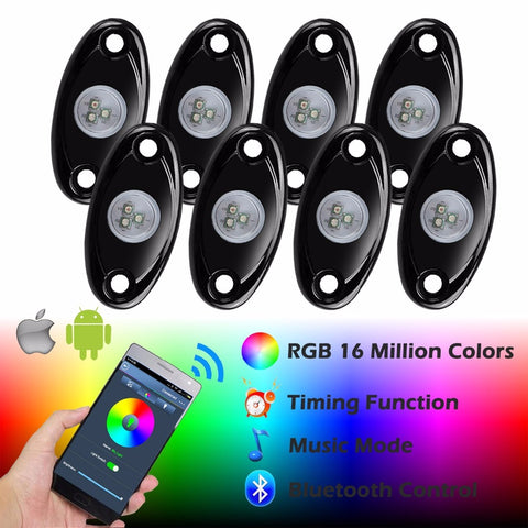 8 Pod Rock Lights, Multi Color, Bluetooth Controlled