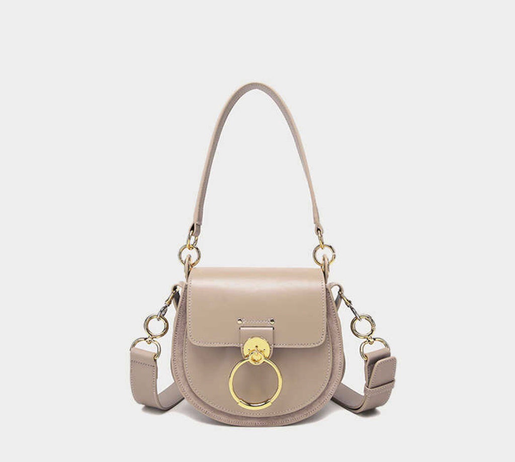 Lara Leather Crossbody In Grey / Taupe
