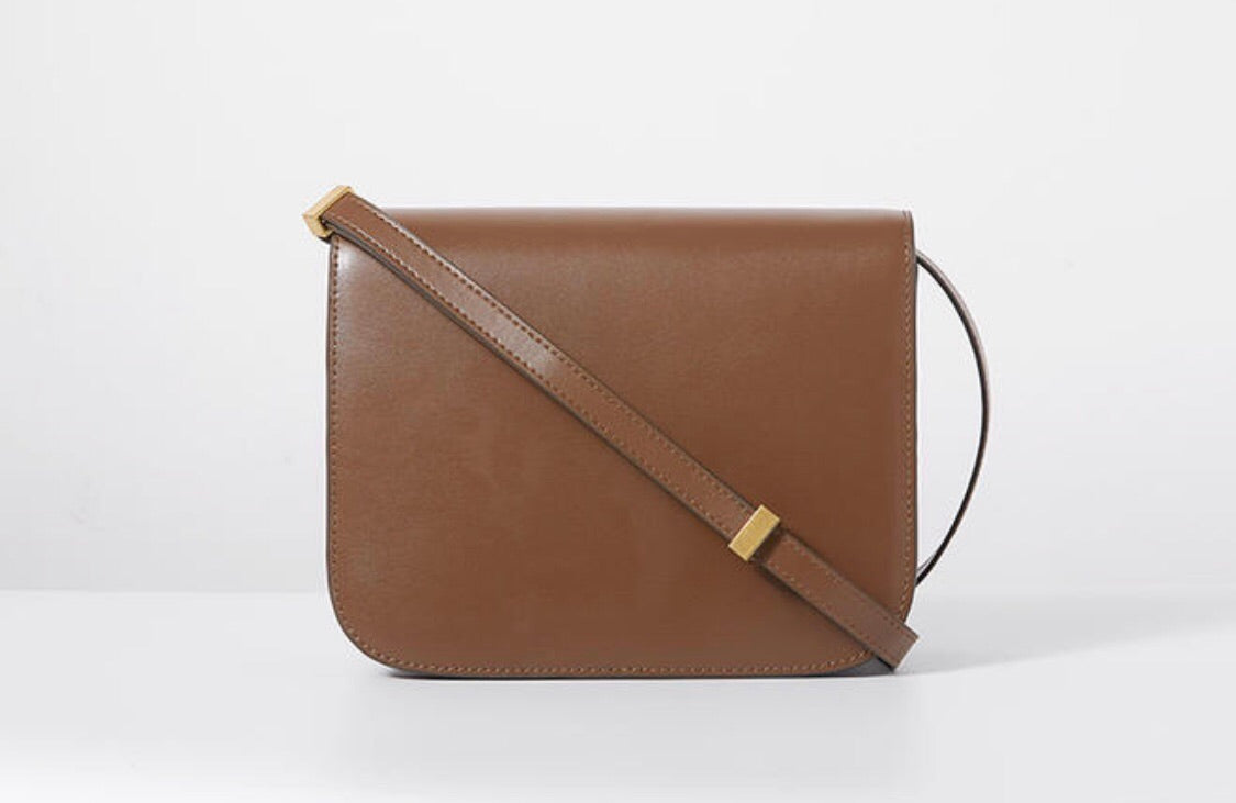 Hannah Leather Box Crossbody Bag In Cream