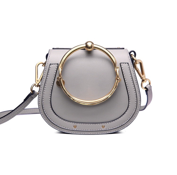 Lydia Small Saddle Leather Crossbody in Taupe / Beige Grey
