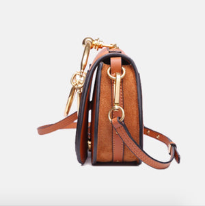 Kelly Medium Saddle Genuine Leather Crossbody in Wine