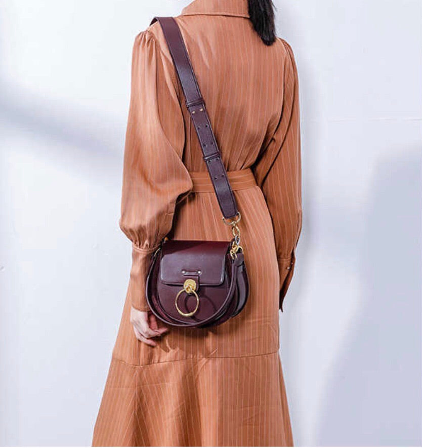 Lara Leather Crossbody In Burgundy