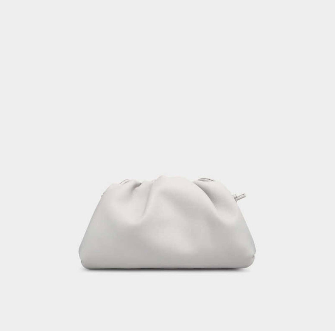Large Ariel Scrunched Cloud Clutch Bag in White