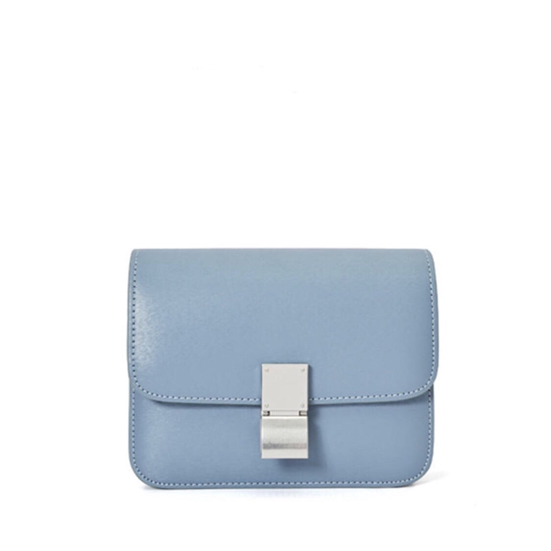 Hannah Leather Box Crossbody Bag In Blue