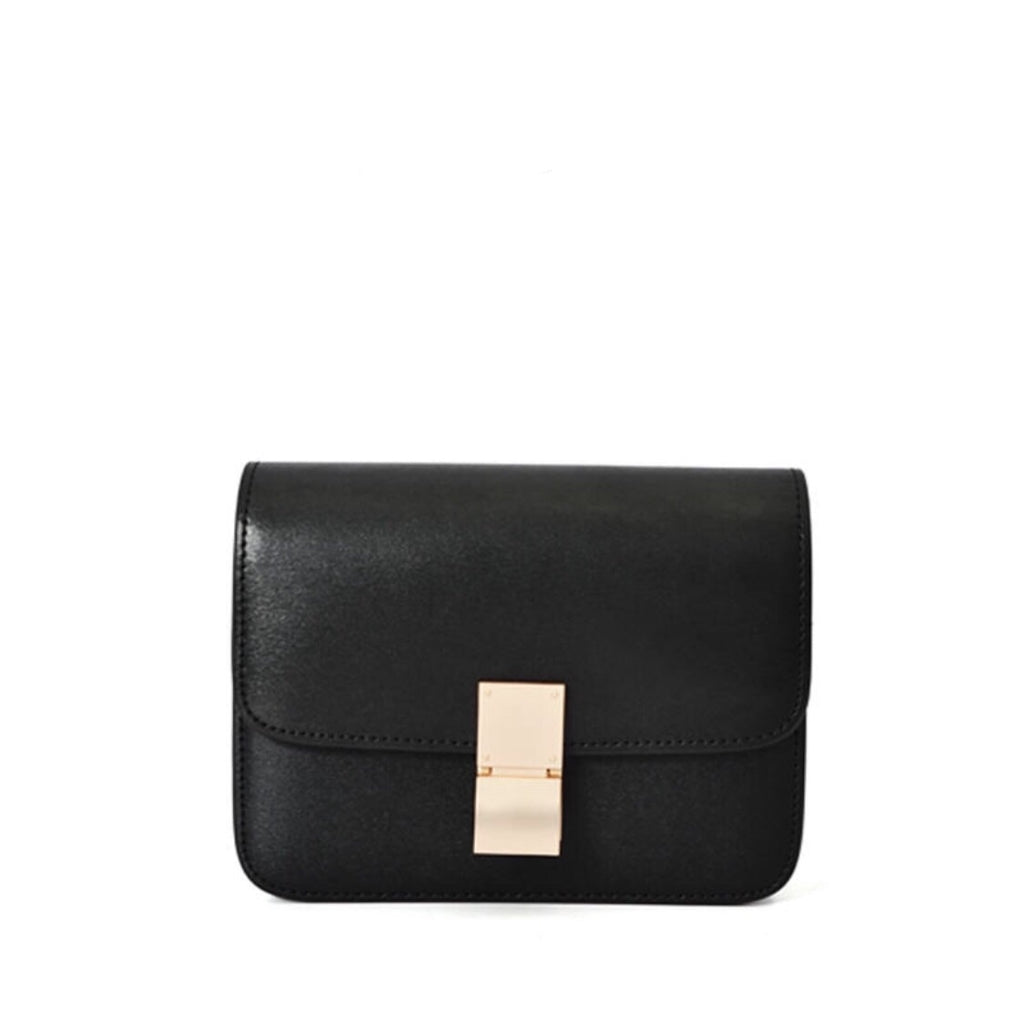 Hannah Leather Box Crossbody Bag In Black