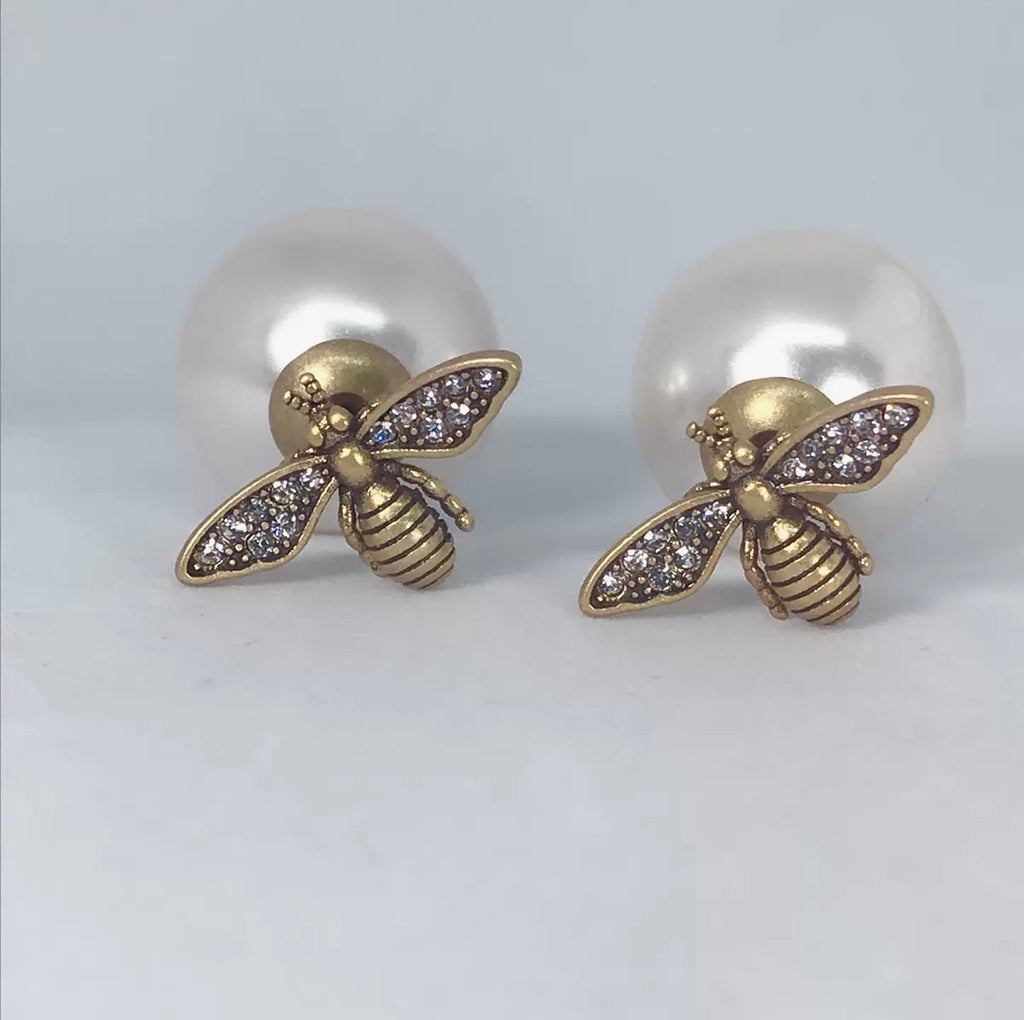 White and Gold Bee Earrings
