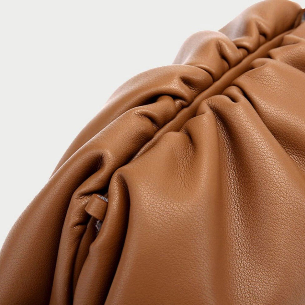 Large Ariel Scrunched Cloud Clutch Bag in Caramel