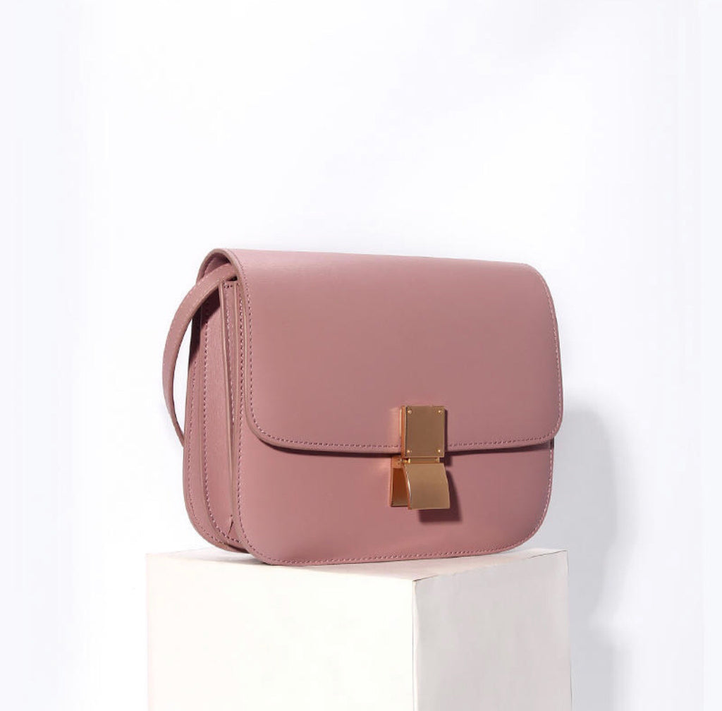 Hannah Leather Box Crossbody Bag In Pink