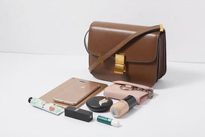 Hannah Leather Box Crossbody Bag In Warm Brown