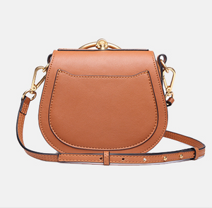 Lush Small Saddle Leather Crossbody in Nude Pink