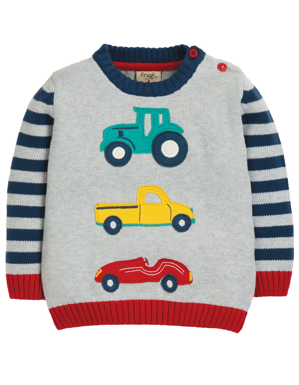 Frugi - Kal Knitted Jumper Grey Marl/Transport